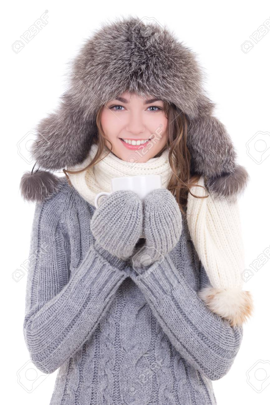 d58f1e83a6a5 Happy Young Beautiful Woman In Winter Clothes With Cup Of Tea ...