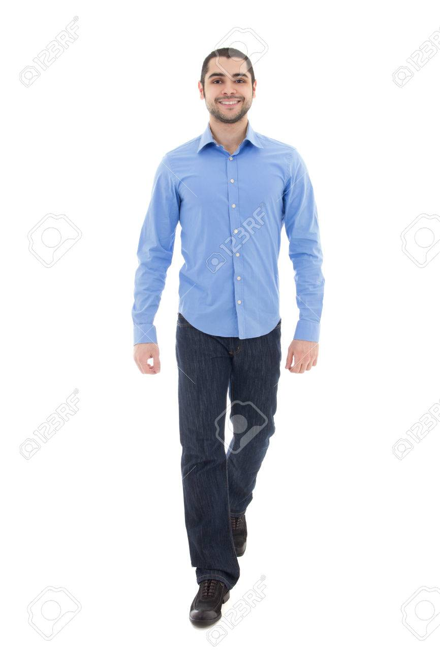 972cf1f2ced young arabic bearded business man in blue shirt walking isolated on white  background Stock Photo -