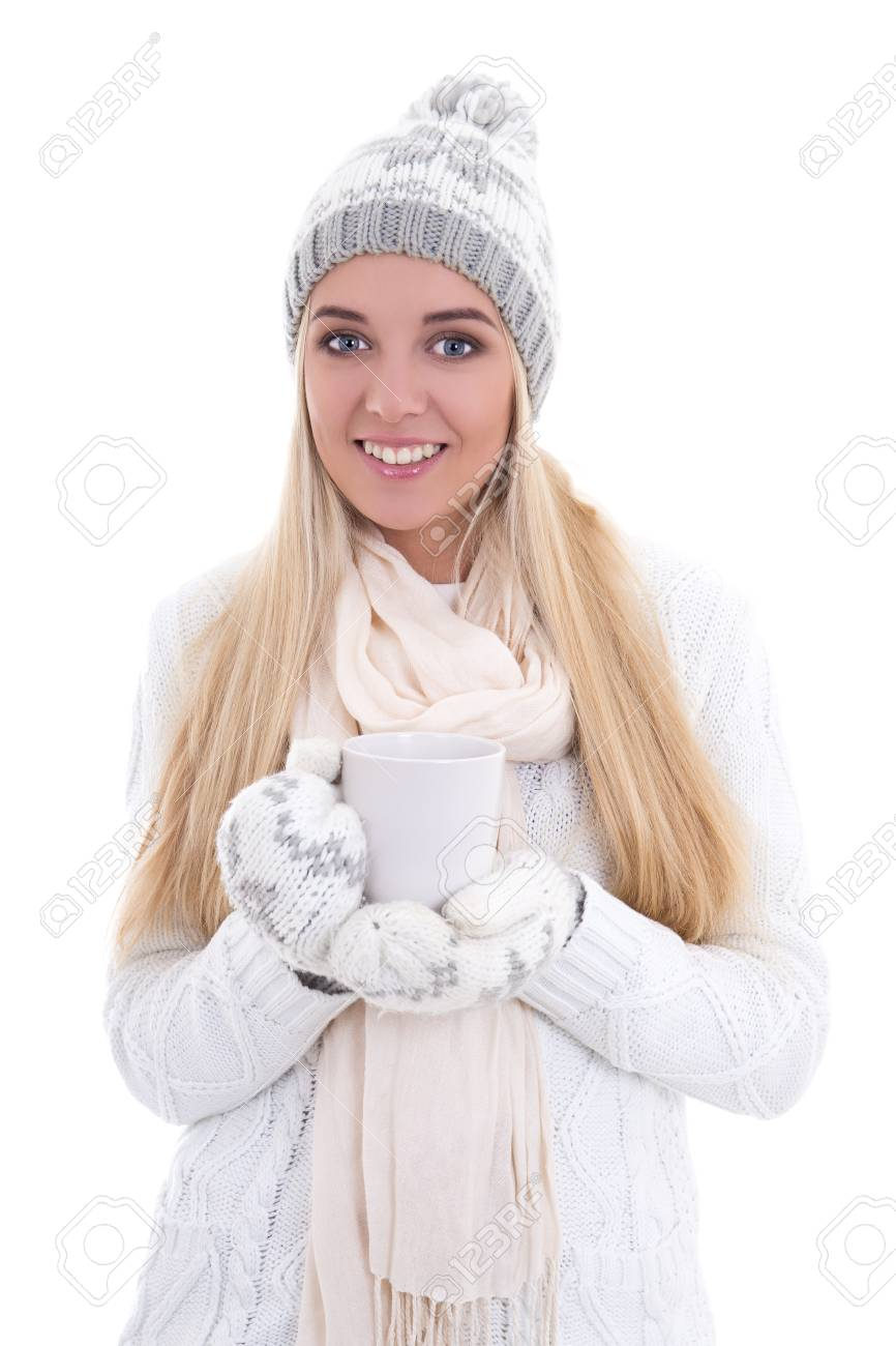 30216c594093 Cute Beautiful Woman In Winter Clothes With Cup Of Tea Or Coffee ...