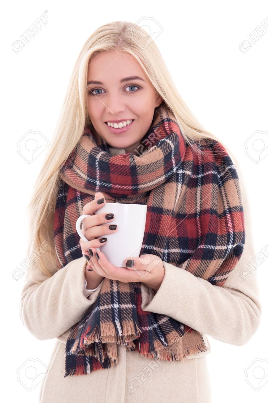 5d8538030b4e Happy Young Blond Woman In Warm Clothes With Cup Of Coffee Or ...