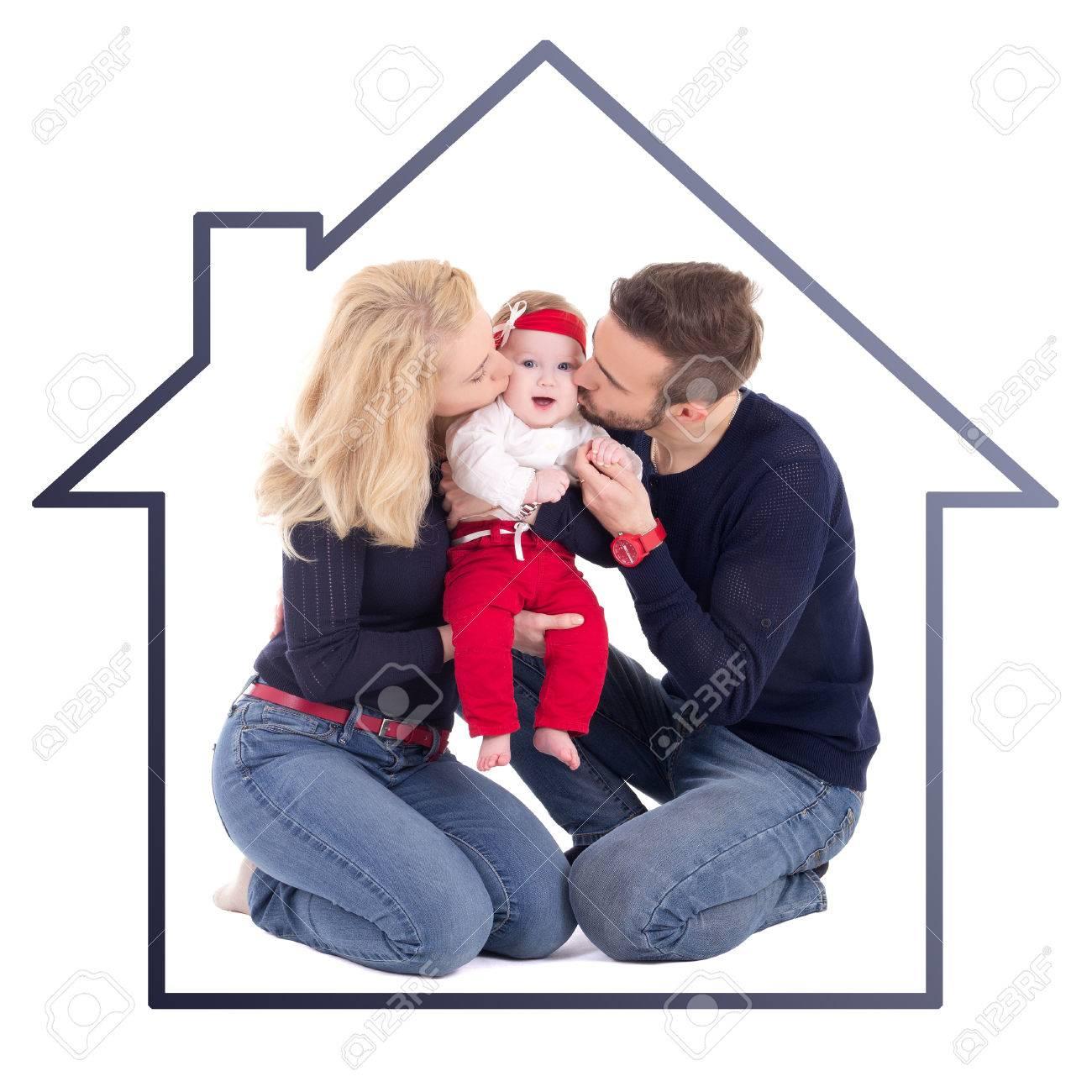 Concepto De Familia Feliz - Padre Y Madre Que Besan Pequeña Hija En ...