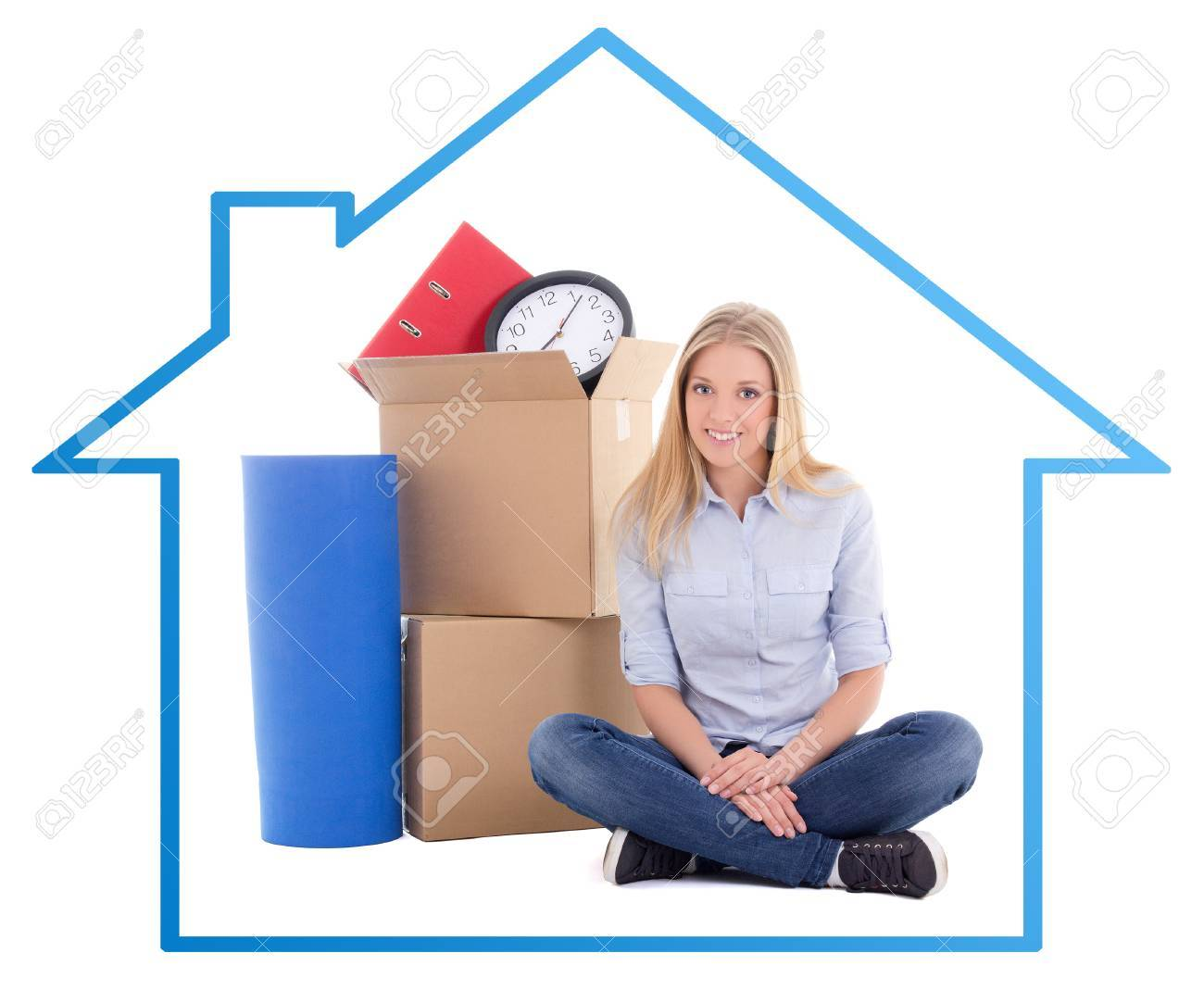 Young Beautiful Woman Ready For Moving Day In Blue House Frame