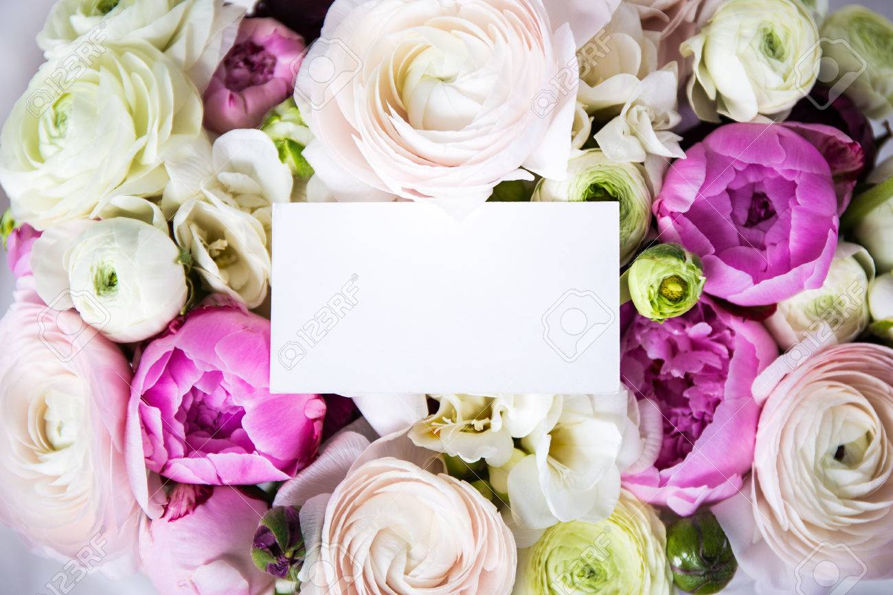 Top View Of Beautiful Bunch Of Summer Flowers With Blank Greeting