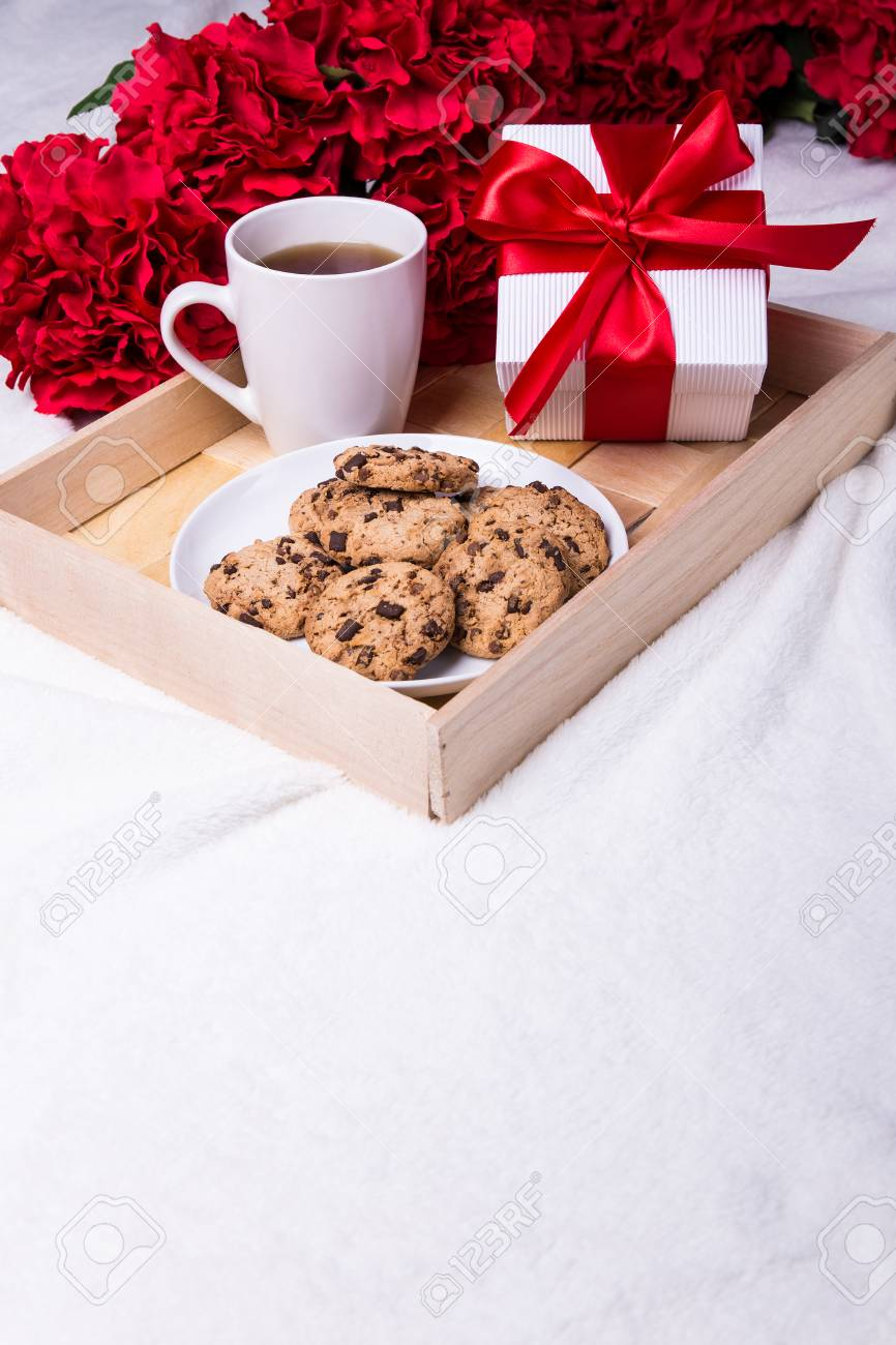 Love And Valentine S Day Concept Wooden Tray With Chocolate