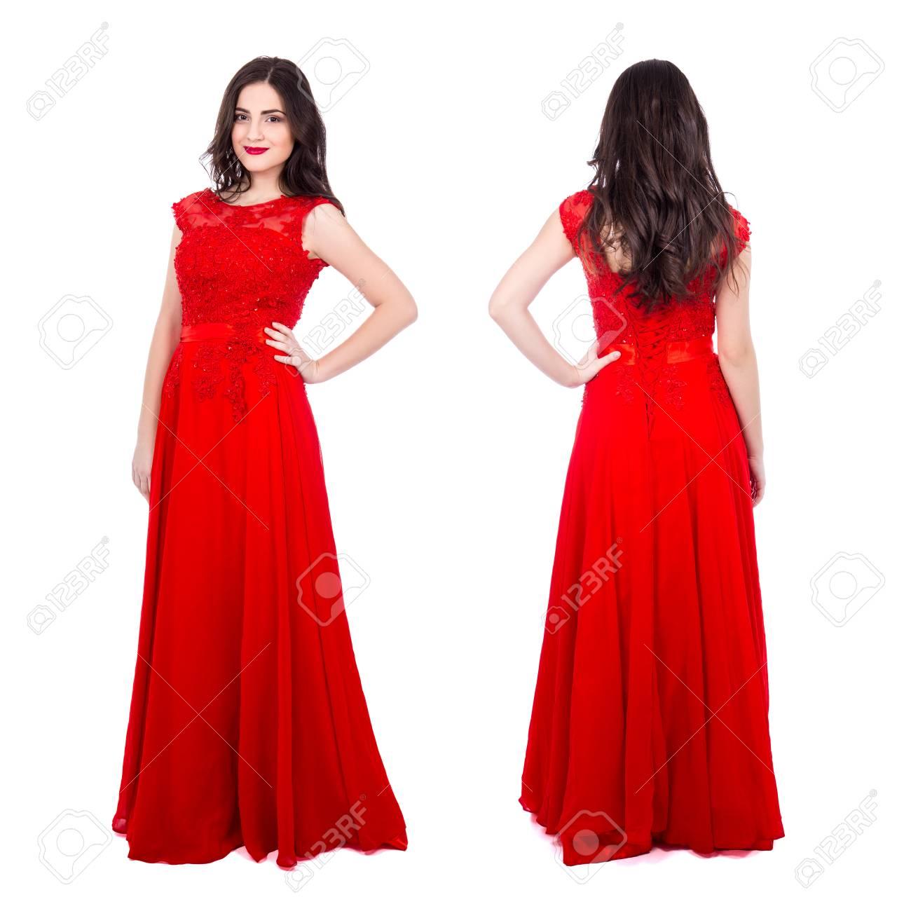 Mooie Rode Jurk.Voor En Achterkant Weergave Van Jonge Mooie Vrouw In Rode Jurk
