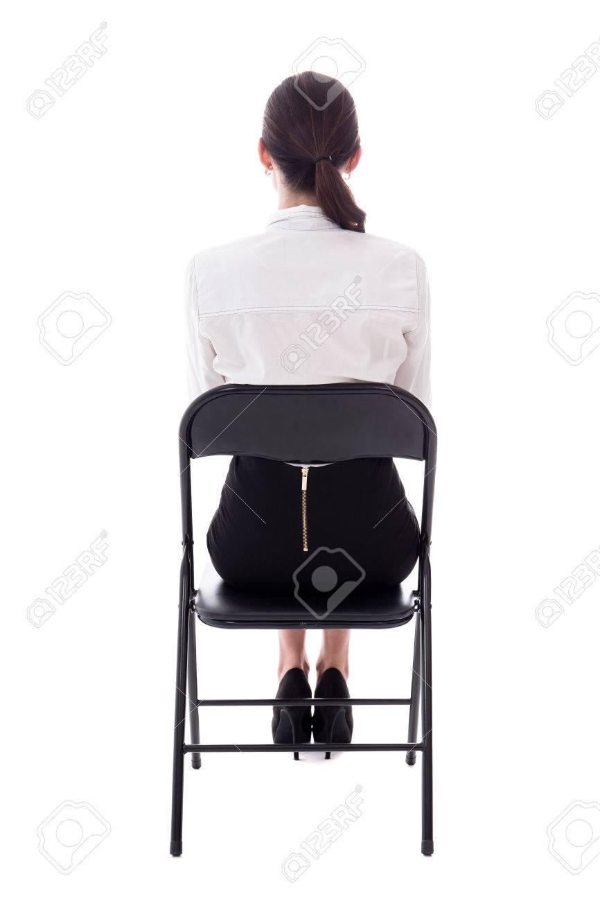 Vue De Dos Jeune Femme Assise Sur Une Chaise Bureau Isole
