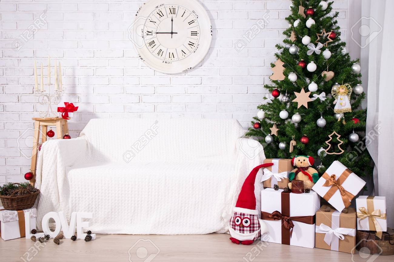 photo vintage christmas background christmas tree t boxes retro clock and decorations in living room