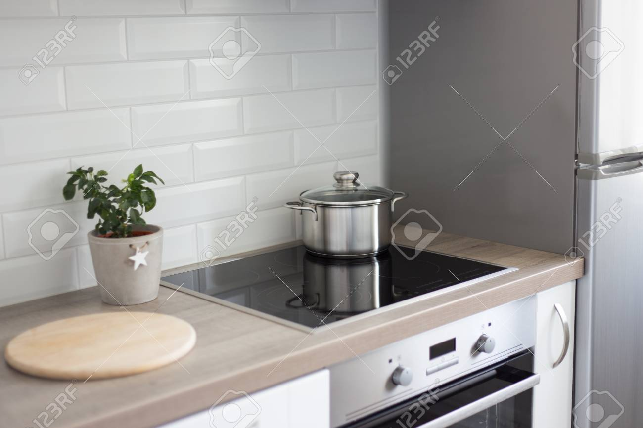 Cooking Concept Work Space In Modern Kitchen Interior Stock Photo