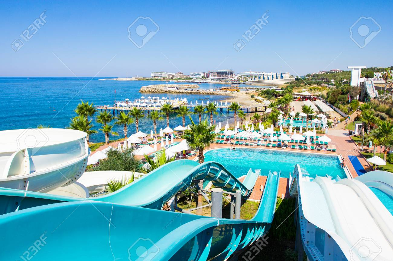 Yop View Of Aquapark With Slides And Swimming Pool On The Seashore Stock Photo Picture And Royalty Free Image Image 84970840