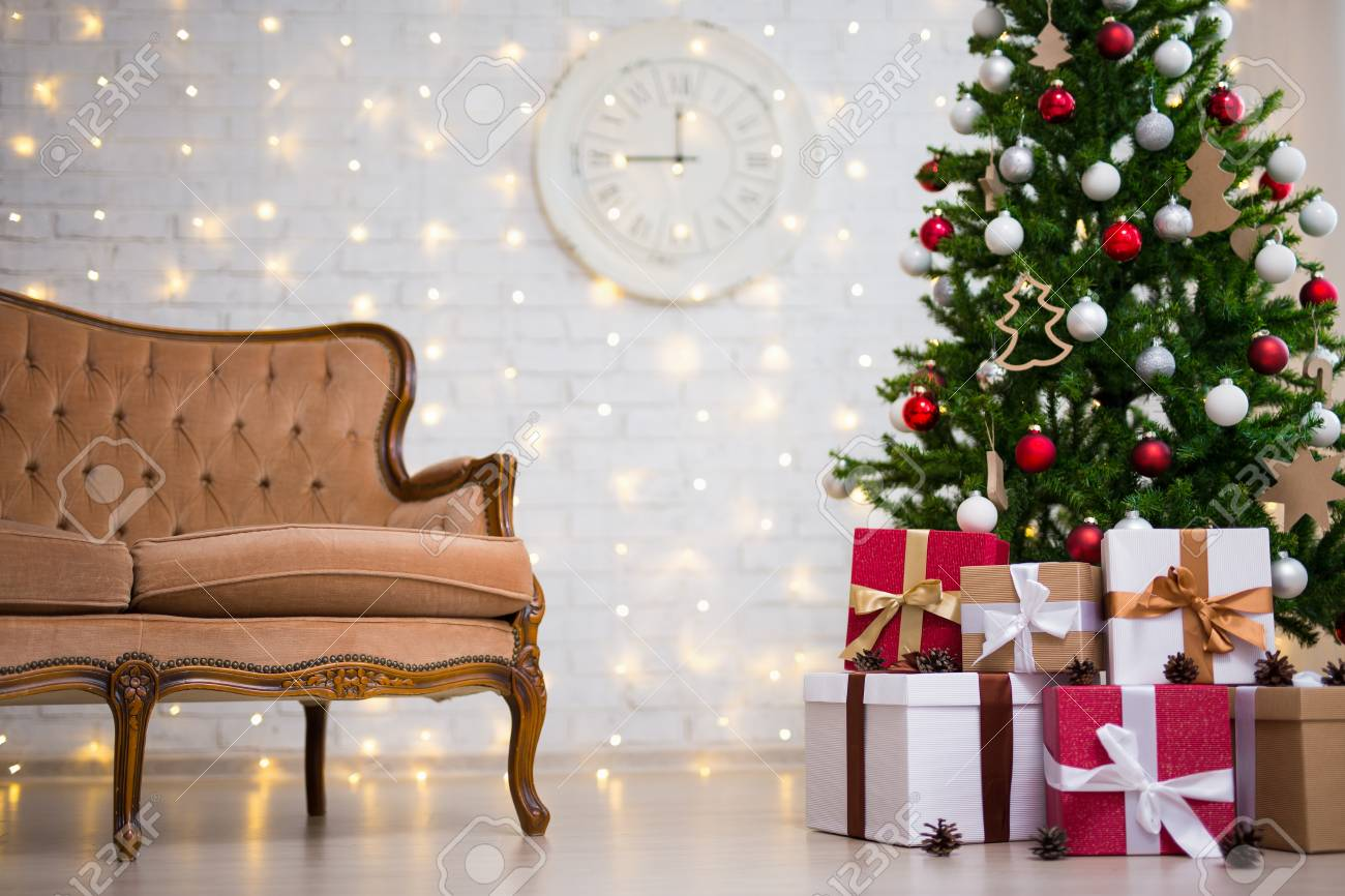 Christmas Background Living Room With Decorated Christmas Tree Stock Photo Picture And Royalty Free Image Image 89589017