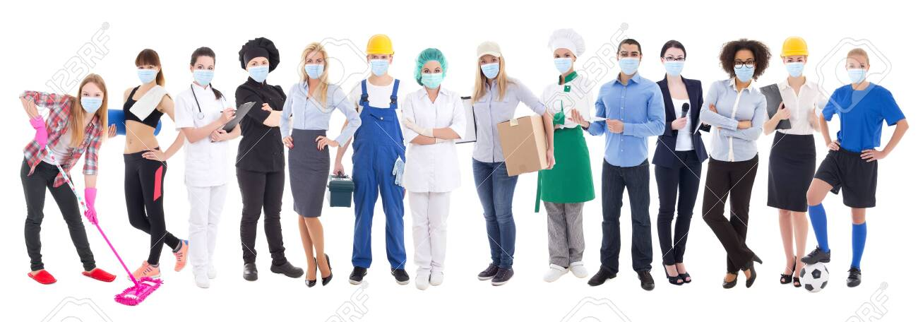 coronavirus, pandemic, health care and unemployment concept - set of different people in protective mask isolated on white background - 143259058