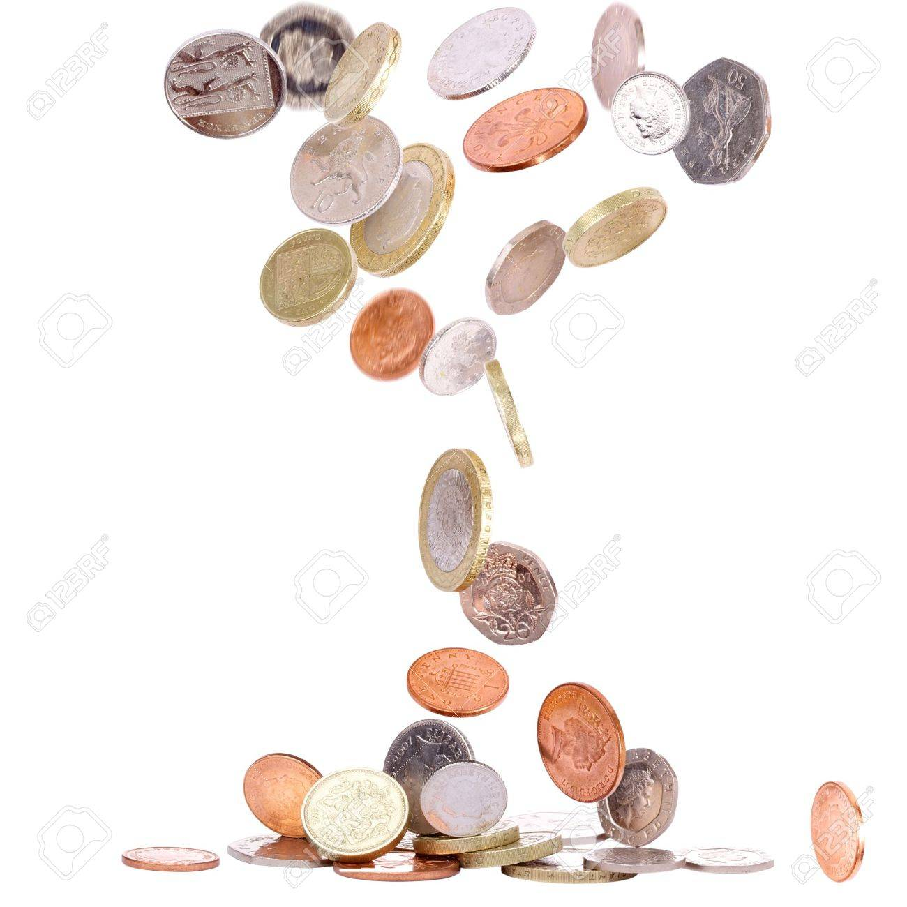Heap of british coins falling to the ground Stock Photo - 10670773