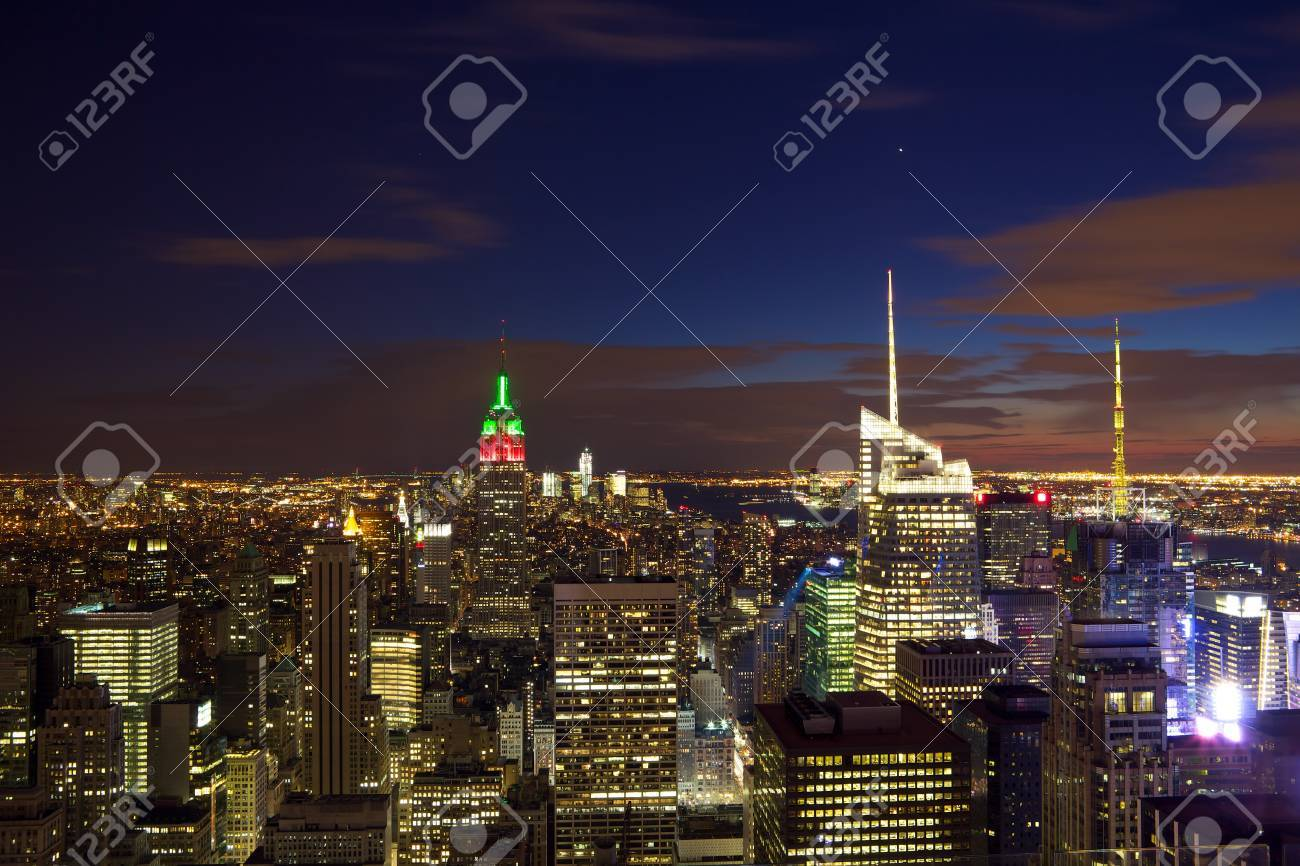 Nighttime View Of Manhattan Skyline In New York City Stock Photo Picture And Royalty Free Image Image 12525851