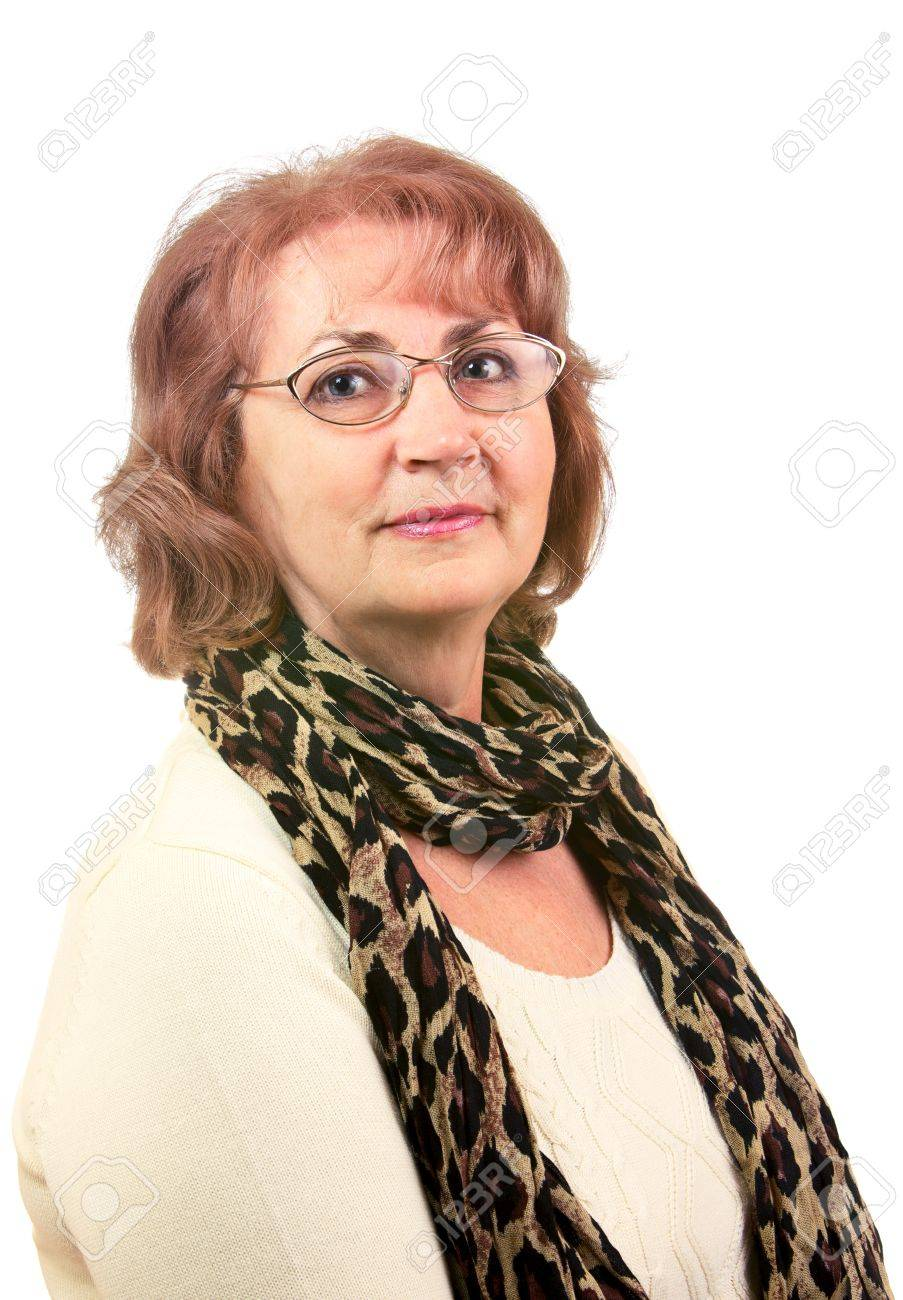 Portrait of senior woman with glasses isolated on white Stock Photo - 12992241