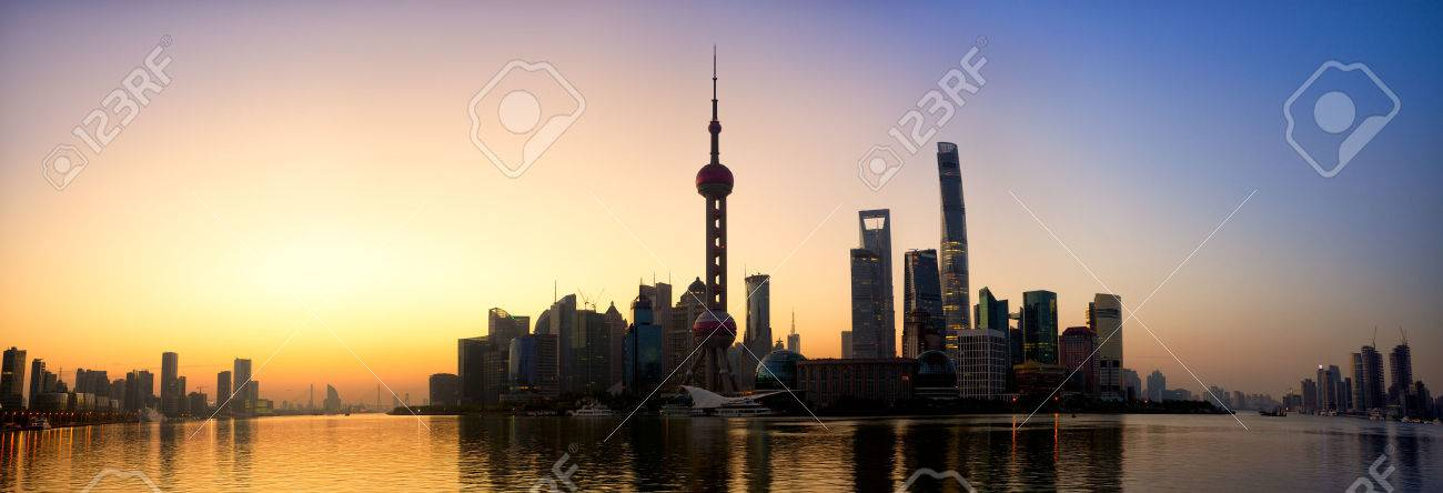 Pudong skyline panorama at sunrise Shanghai China - 40801604