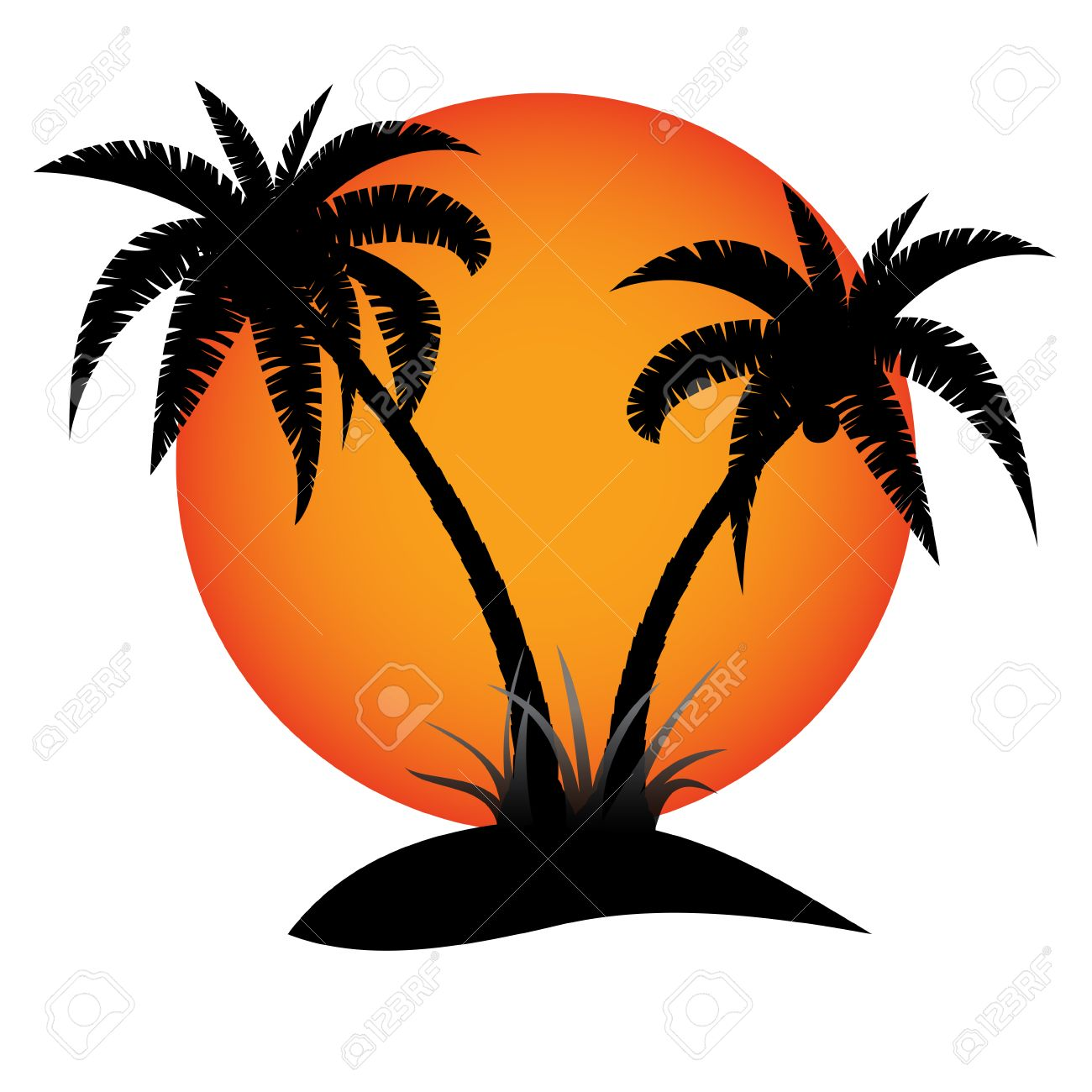 Palm trees silhouette with sun on tropical island - 42098282