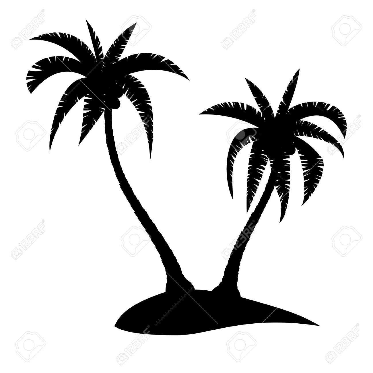palm trees silhouette on tropical island vector illustration rh 123rf com Vector Small Island Palm Leaves Vector