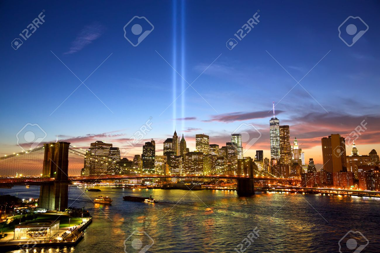 Manhattan skyline and the Towers of Lights at sunset in New York - 43614311