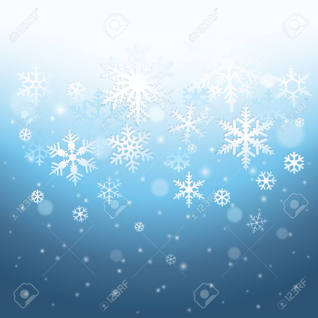 Abstract blue winter background with falling snowflakes - 48719139