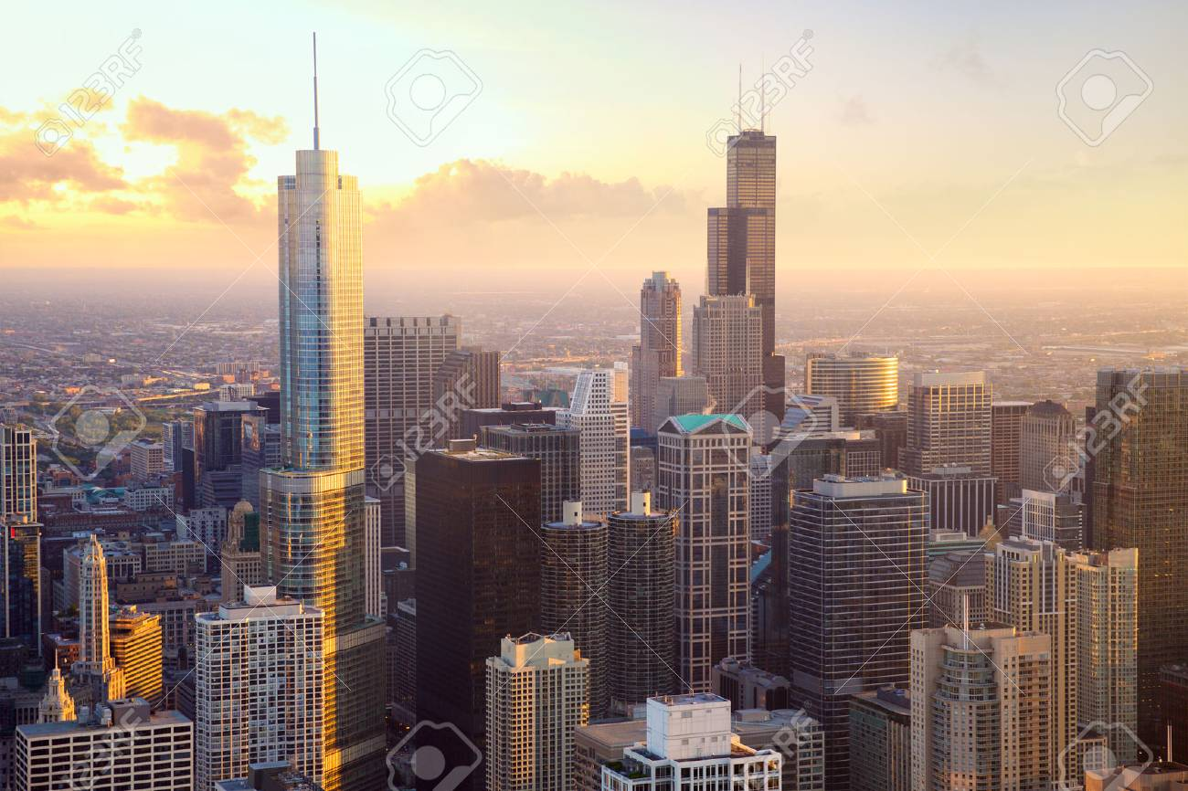 Chicago skyscrapers at sunset, aerial view, United States - 52578835