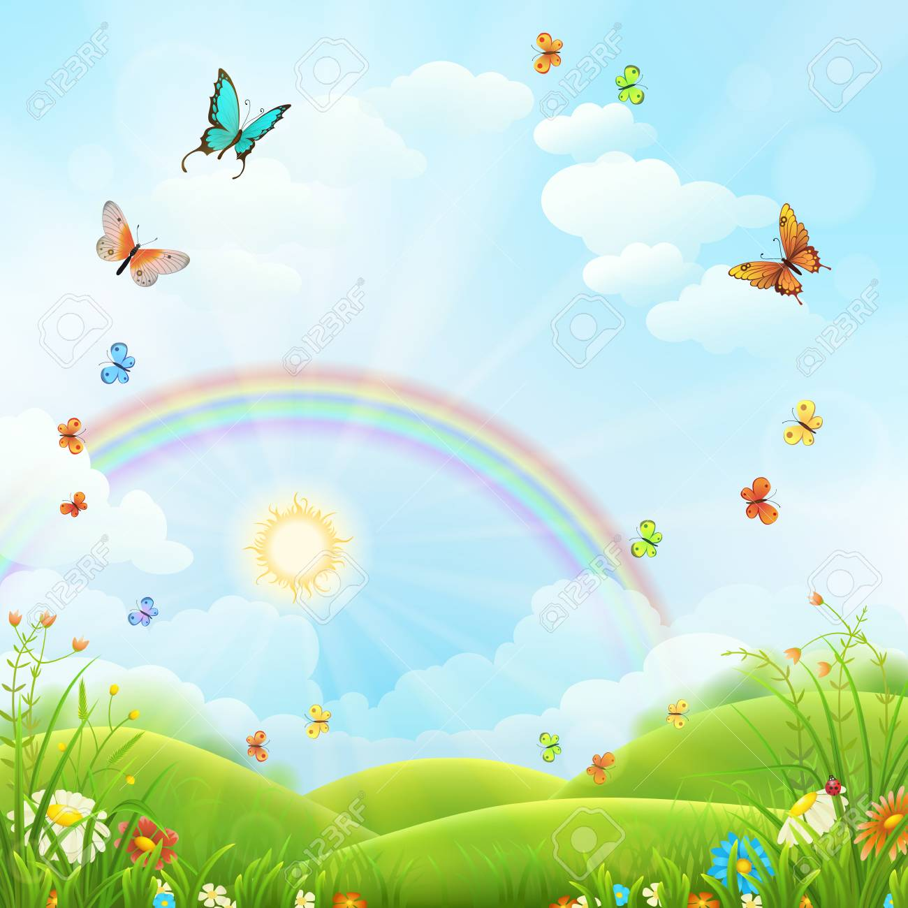 Nature background with green grass, flowers and rainbow - 98486774
