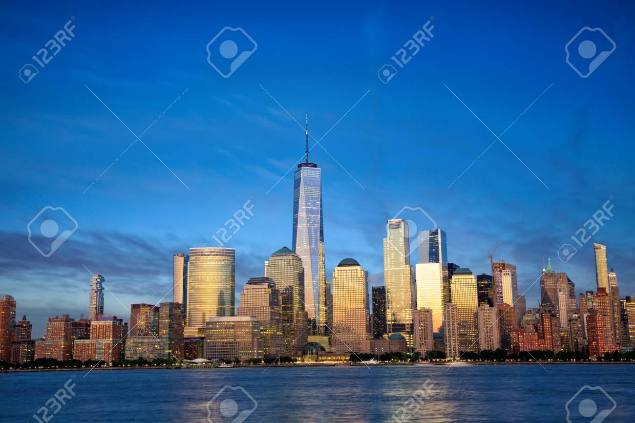 New York City Manhattan skyline with modern skyscrapers at dusk - 116745822