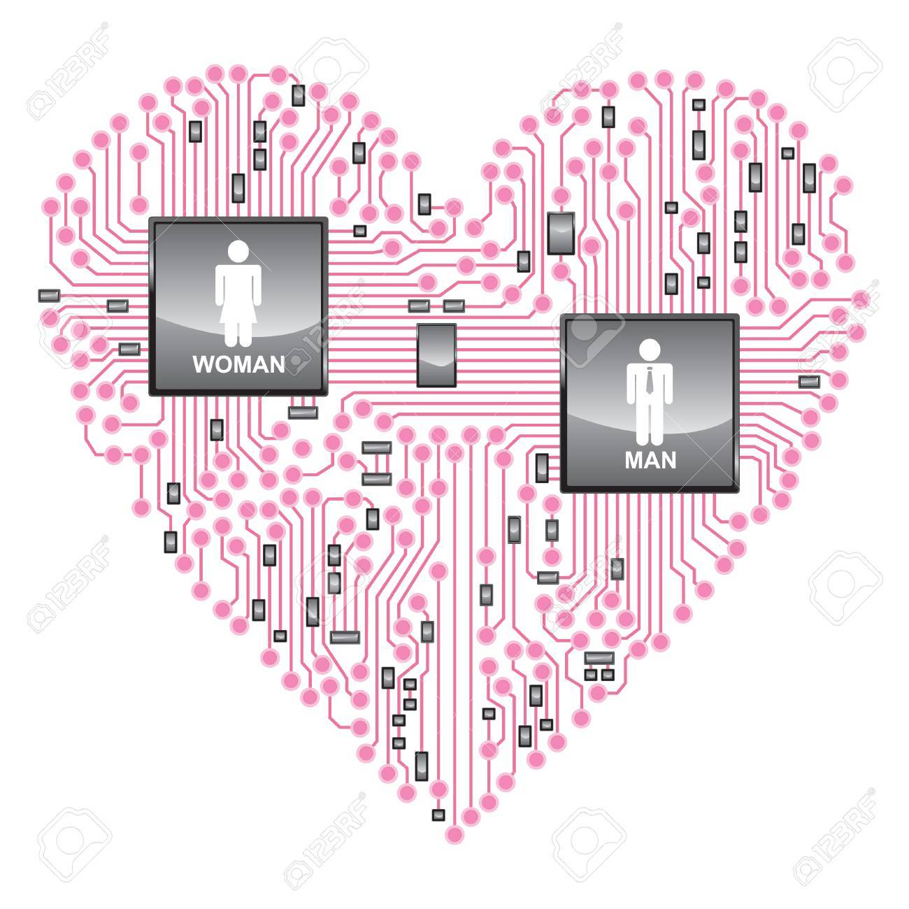 Heart Circuit Board, Online Love Royalty Free Cliparts, Vectors, And ...