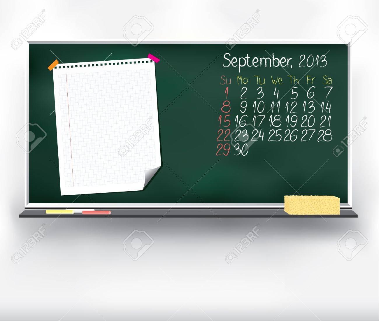 Scribble calendar on the blackboard  September 2013 Stock Vector - 16161420