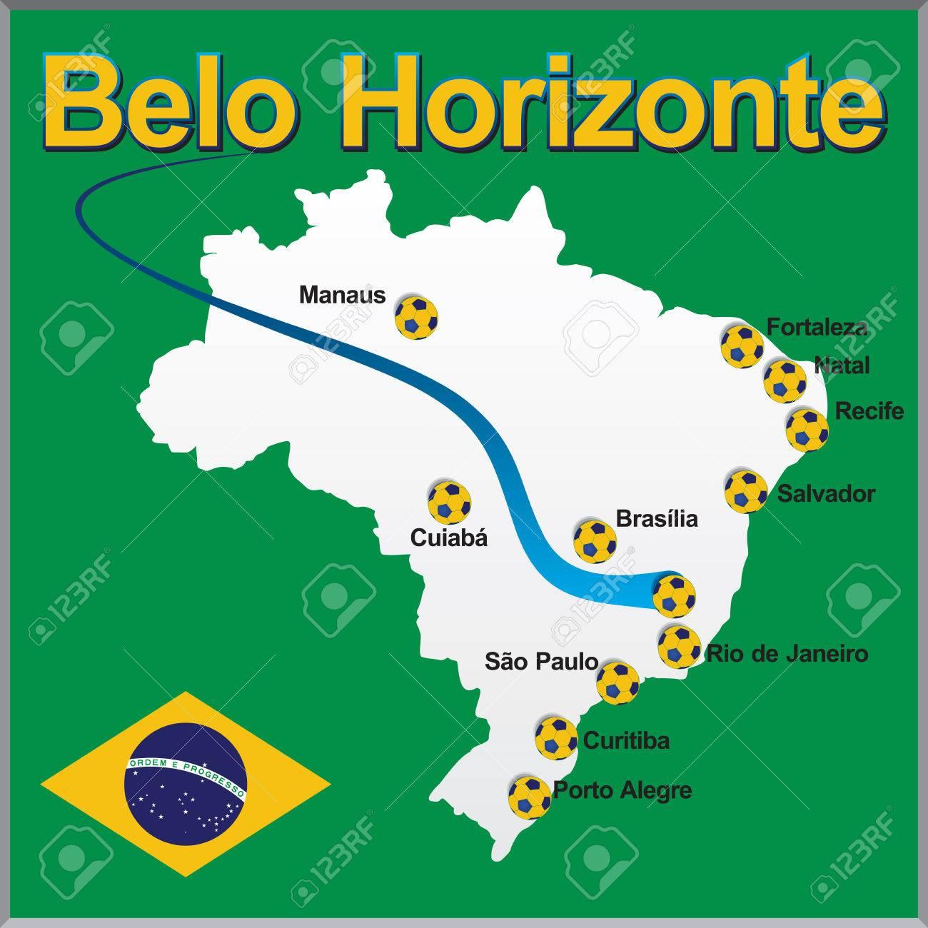 Belo Horizonte Brazil Map Soccer Ball Royalty Free Cliparts