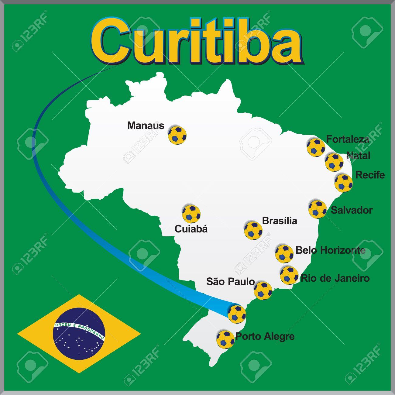 curitiba brasilien karte Curitiba   Brasilien Karte Fußball Lizenzfrei Nutzbare