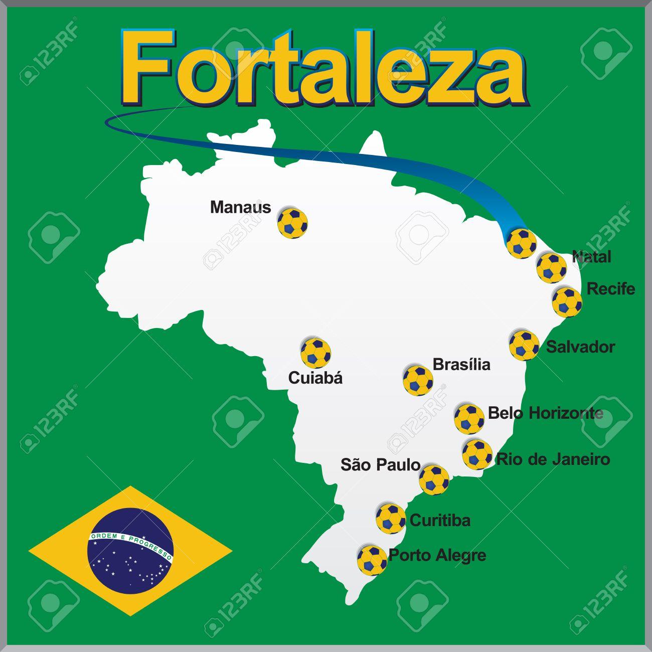 fortaleza brasilien karte Fortaleza   Brasilien Karte Fußball Lizenzfrei Nutzbare