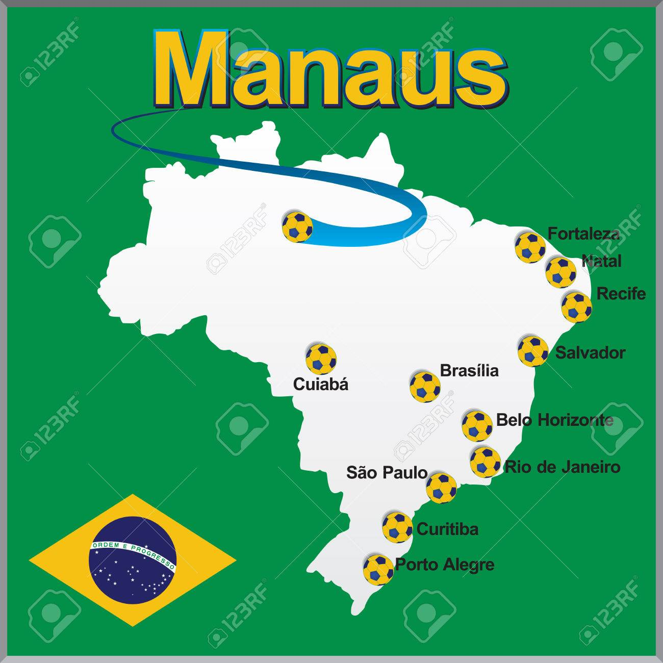Manaus Brazil Map Soccer Ball Royalty Free Cliparts Vectors And