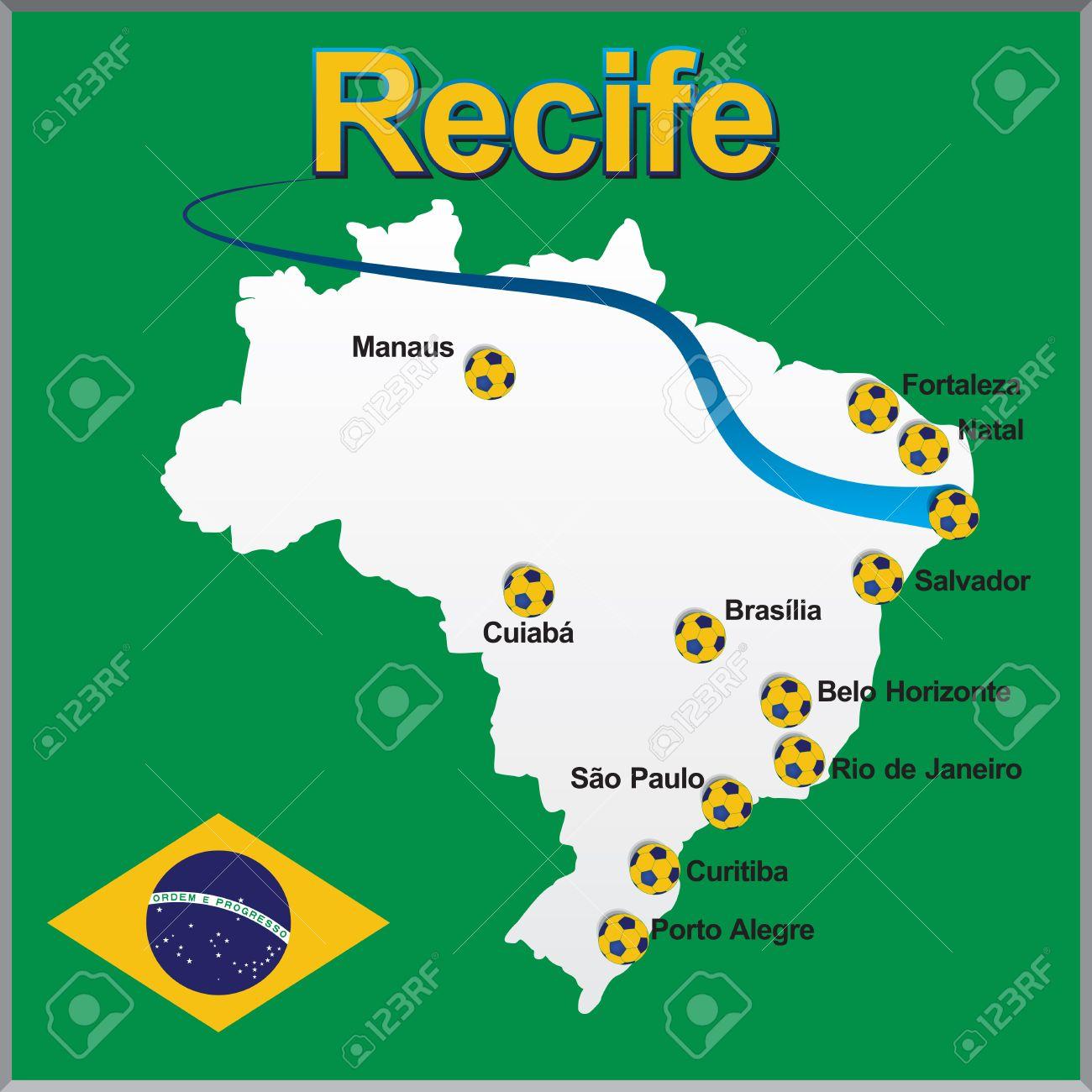 Recife Brazil Map Recife   Brazil Map Soccer Ball Royalty Free Cliparts, Vectors  Recife Brazil Map