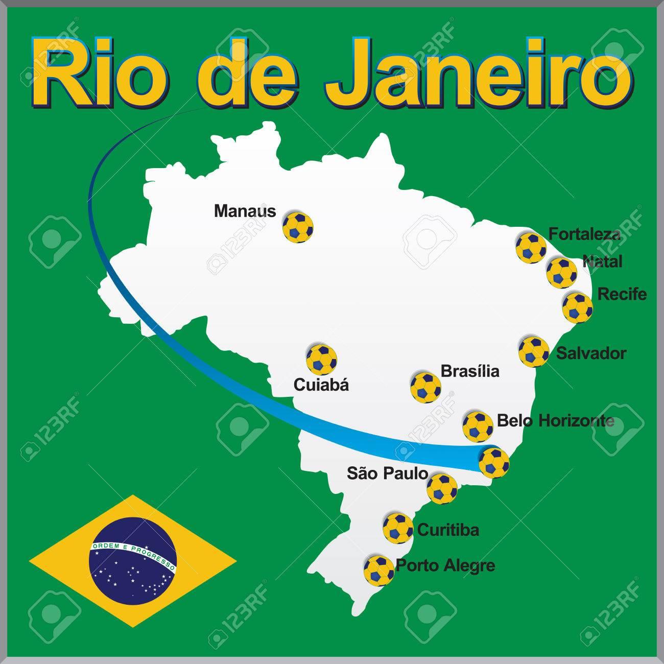 Rio De Janeiro Brazil Map Soccer Ball Royalty Free Cliparts