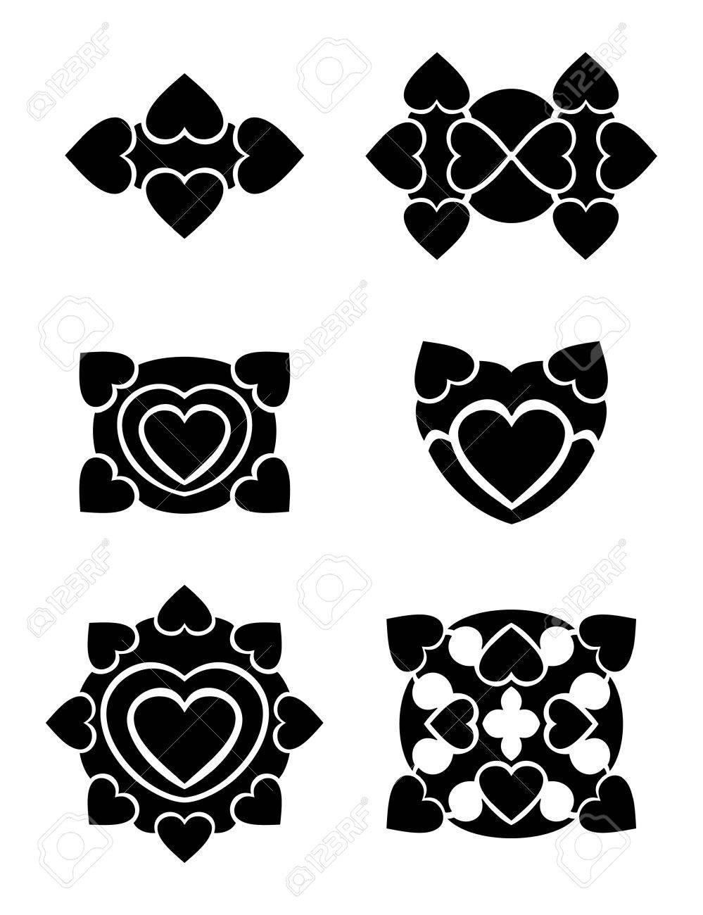 Hearts tribal tattoo set Stock Vector - 17702578