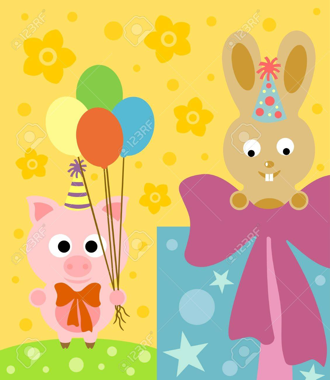 cartoon background with funny pig and rabbit royalty free cliparts