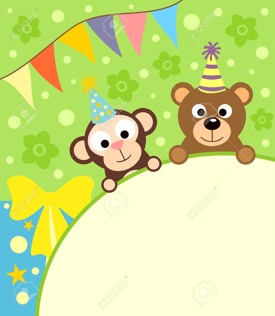 Background card with funny monkey and bear Stock Vector - 19356742
