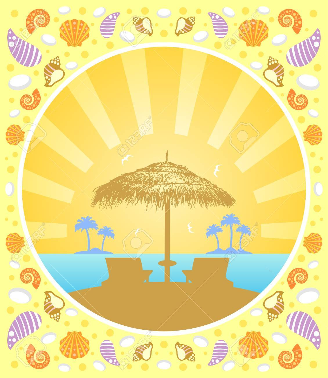 Background summer card with  deckchair and umbrella Stock Vector - 19976052