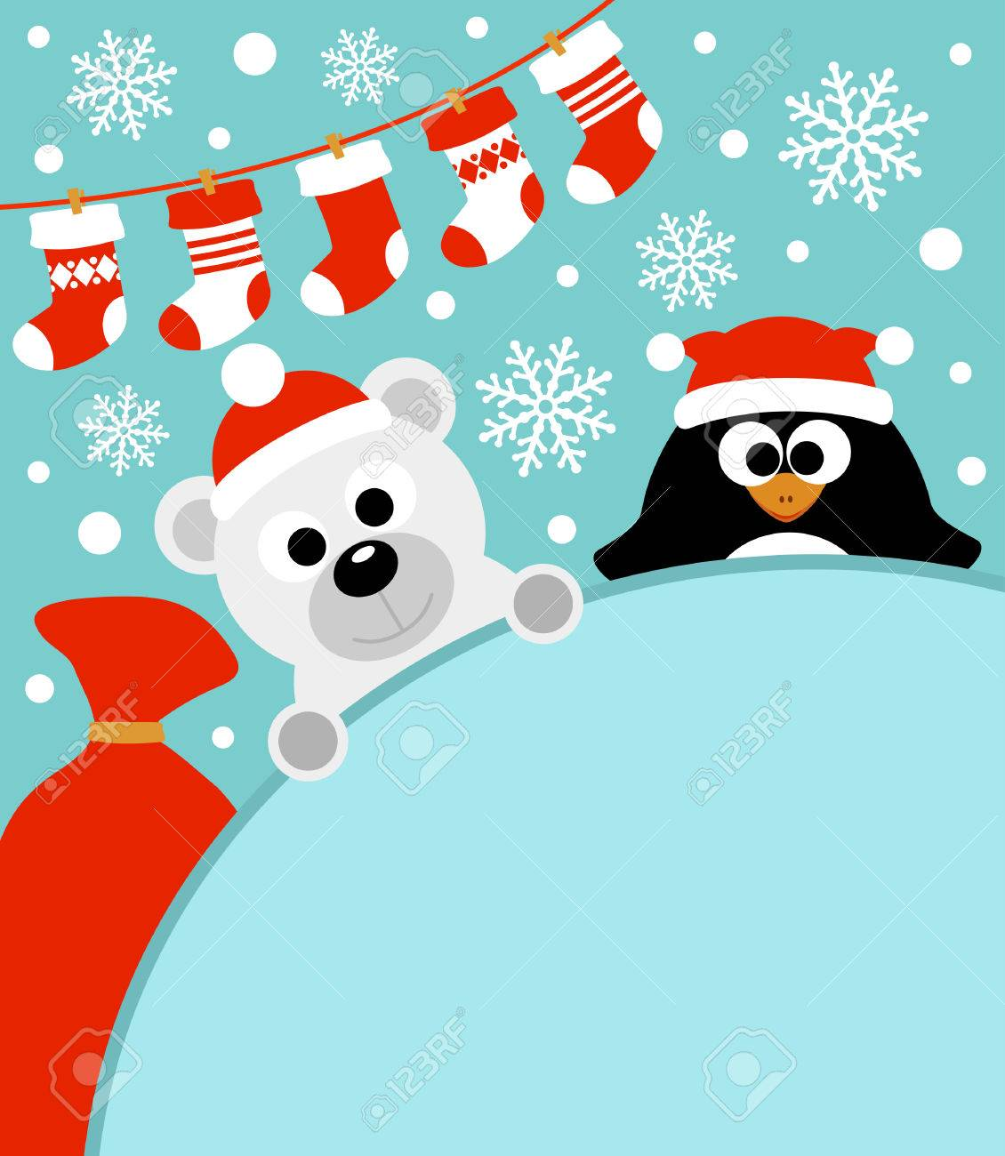 New Year background card with penguin and polar bear Stock Vector - 24021581
