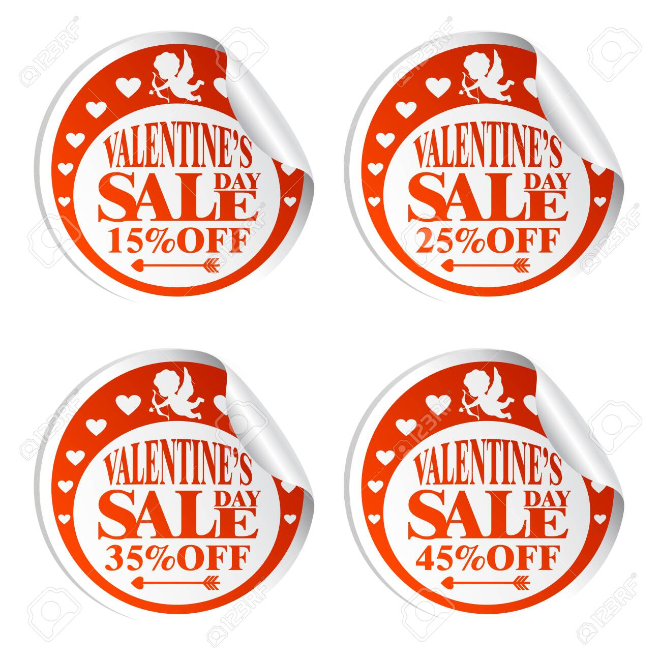 Valentine's Day sale stickers with Cupid 15,25,35,45 percent off.Vector illustration - 122684748
