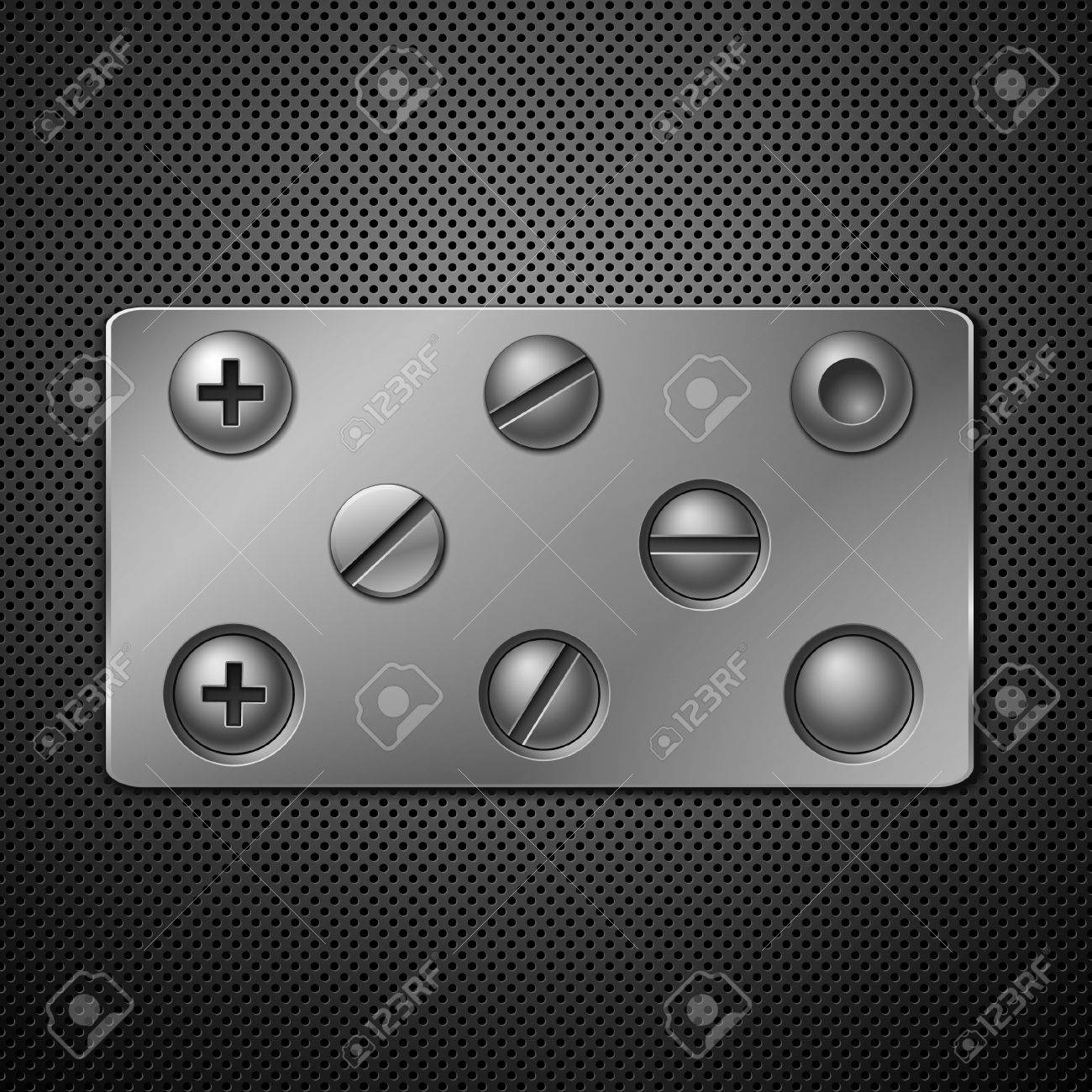 Screws and rivets. Elements for your design. Vector illustration. Stock Vector - 8880154