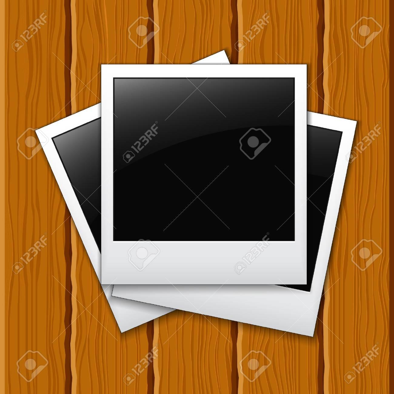 Photos on a wooden surface Stock Vector - 9162125