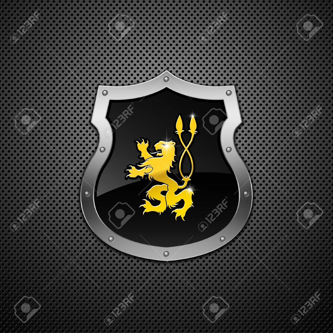 Shield with lion on a metallic background. Stock Vector - 9213198