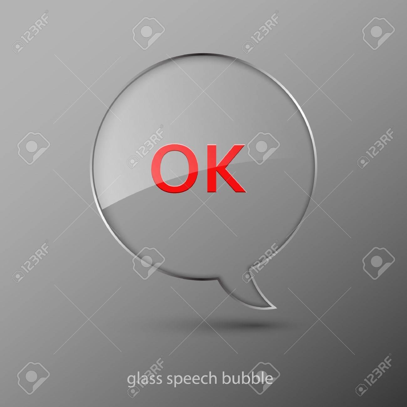 Realistic glass speech bubble. Stock Vector - 9636547