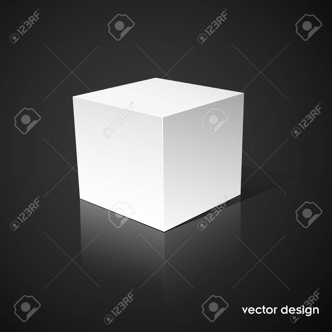 White cube on a black background Stock Vector - 11211933