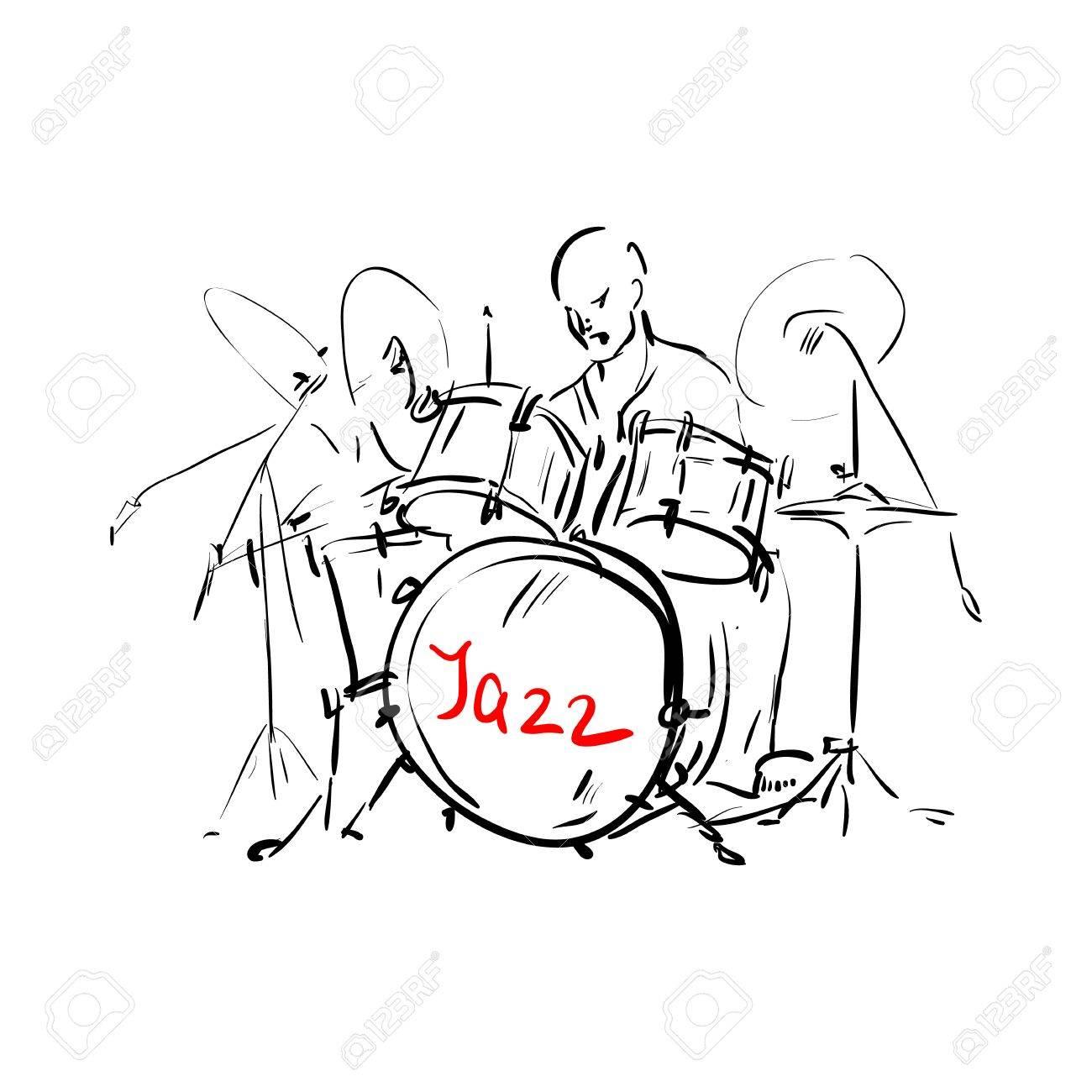 Sketch. Drummer. Vector illustration. Stock Vector - 12134446