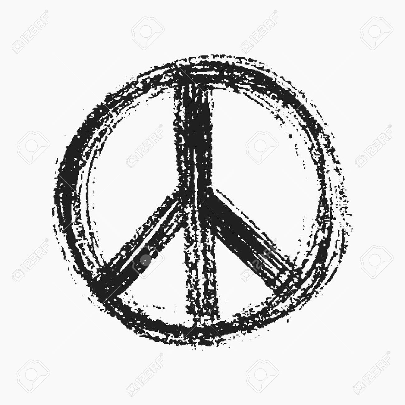 Red Peace Symbol Created In Grunge Style Royalty Free Cliparts