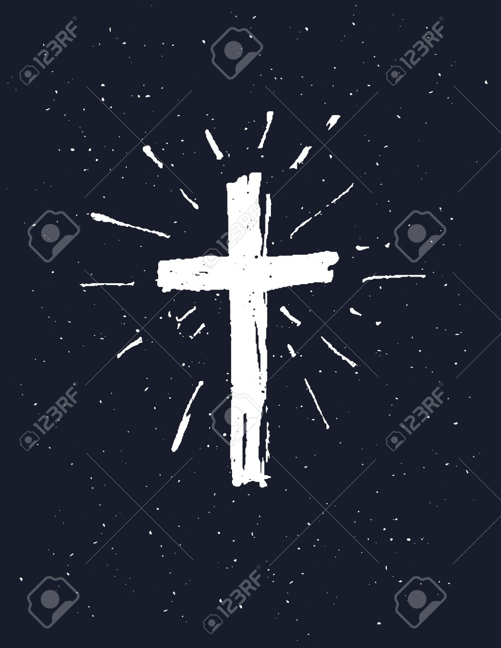 Hand drawn white grunge cross icon, simple Christian cross sign, isolated on black background. - 56731645