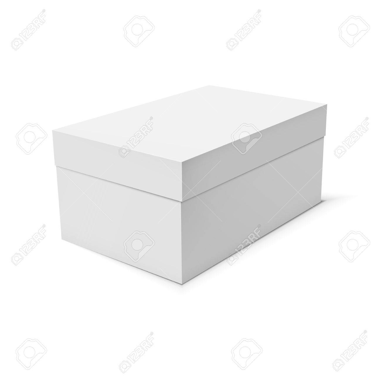 Blank Paper Or Cardboard Box Template On White Background Vector Illustration Stock