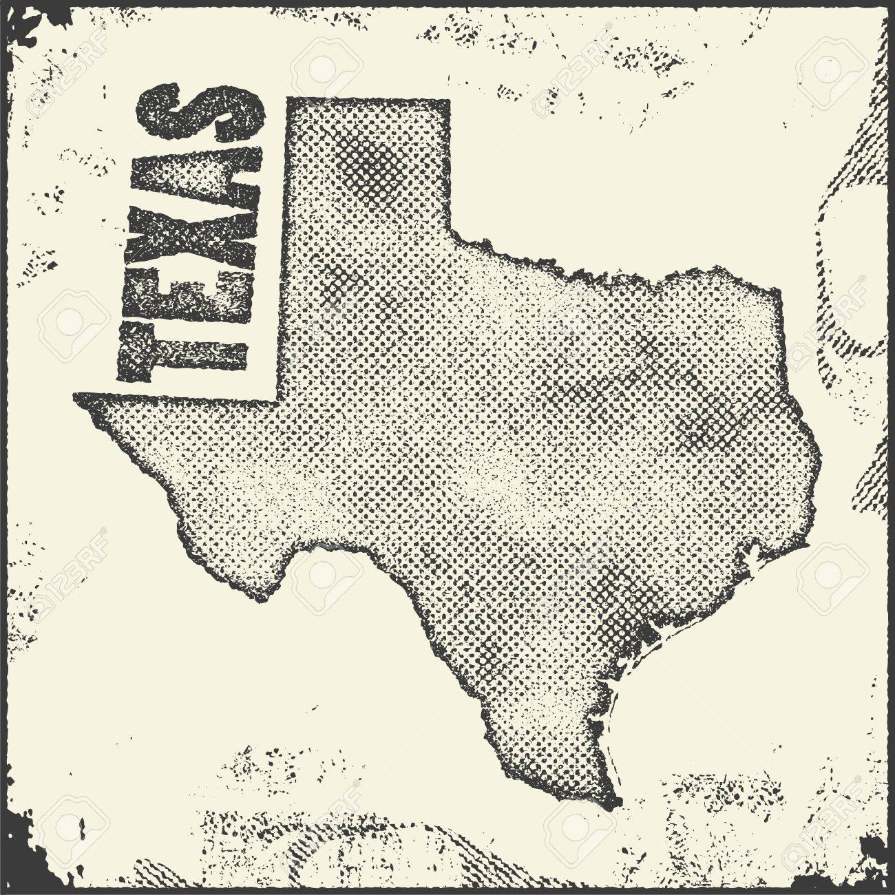 Texas Vector Map Stamp Retro Distressed Insignia With US State - Free Us Vector Map
